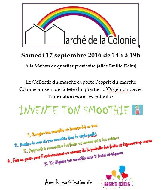 Atelier créatif pour les enfants sur la fête de quartier à Argenteuil par le collectif du marché Colonie